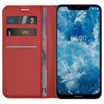 Leather Wallet Case & Card Holder Pouch for Nokia 8.1 - Red